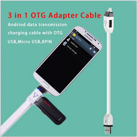Lesu Cable 3 In 1 usb 8pin otg adapter cable data charging cable 3 in 1 phone charger cable for for mobile