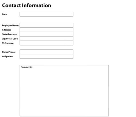 contact information template word