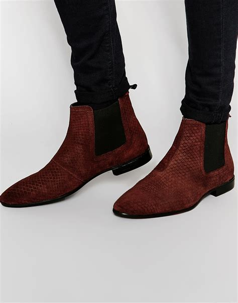 mens burgundy chelsea boots lyst asos chelsea boots in burgundy suede with snakeskin