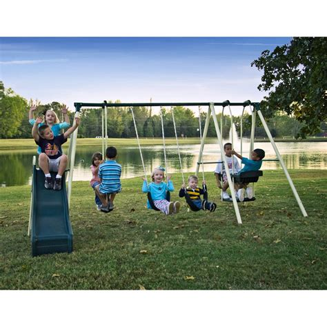 park swing set flexible flyer forest park metal swing set at hayneedle