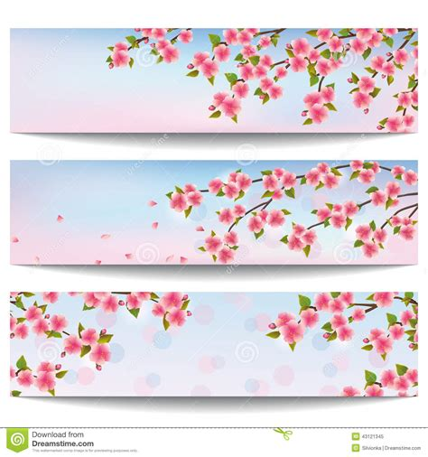 banner design japan set of beautiful banners with pink sakura cherry tree