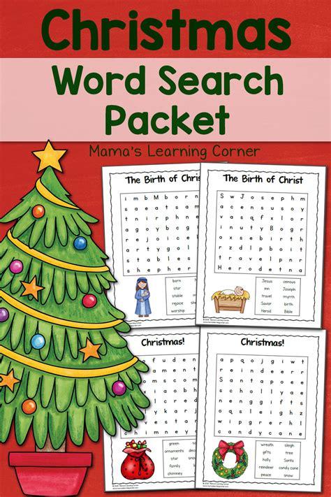 printable christmas word search for 2nd grade christmas word search printable packet mamas learning corner
