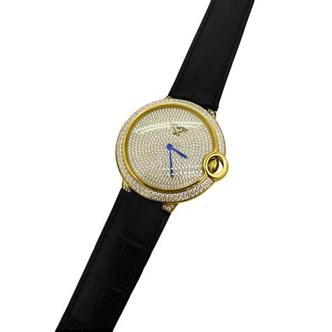 mens cz pave rounded gold black leather luxury hip