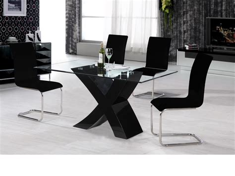 Black high gloss dining table and 4 chairs /glass top
