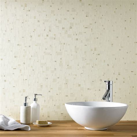 bathroom wallpaper tile effect contour spa shimmer tile effect beige kitchen bathroom