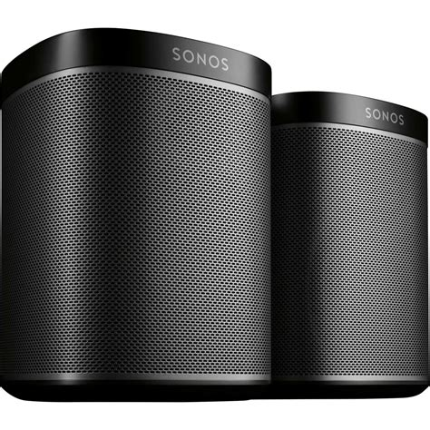 sonos play 1 one black and two room bundle set bookshelf