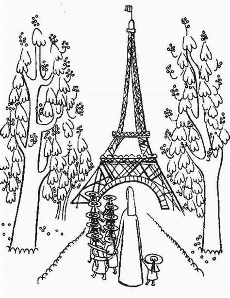 coloring adult paris buildings and eiffel tower coloring