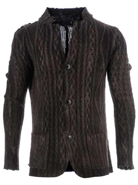 cable knit cardigan mens avant toi cable knit cardigan in gray for grey lyst