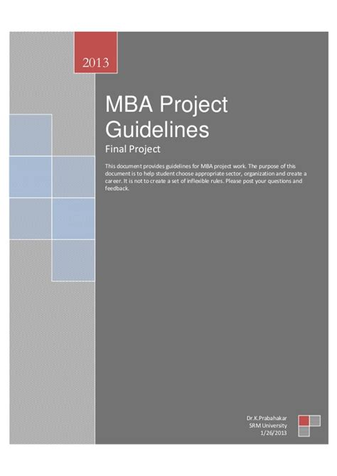 Mba Project by Project Guidelines For Mba