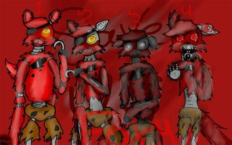 freddys foxy 2 nights at five five nights at freddy s foxy 1 2 3 and 4 by fnaflover64 on