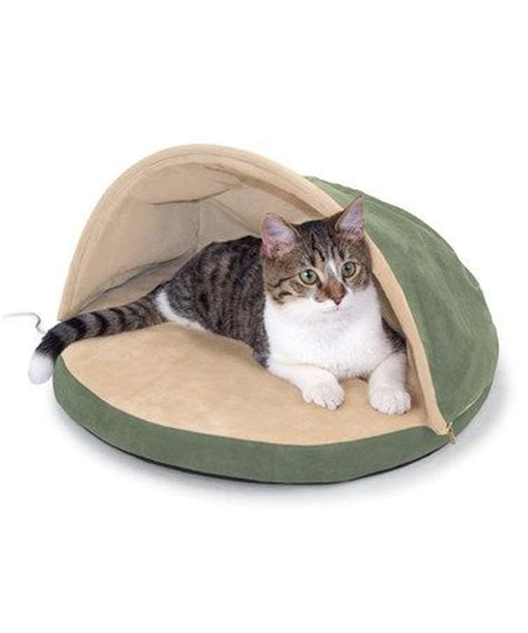clam shell bed sage heated clam shell cat bed
