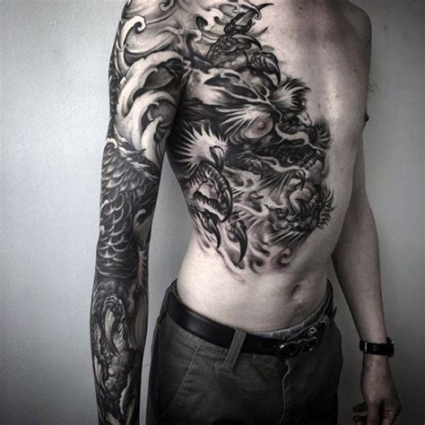 dragon tattoo chest to arm 40 dragon chest tattoo designs for men mythical monster
