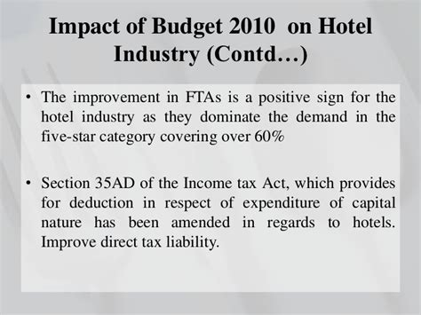 section 60 of income tax act budget on hotel industry
