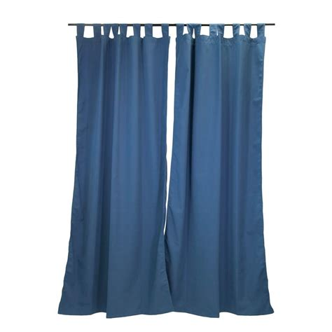 Sunbrella Curtains Patio Sunbrella 50 In X 96 In Canvas Sapphire Outdoor Tab Top Curtain Panel 7696 01052100 The Home