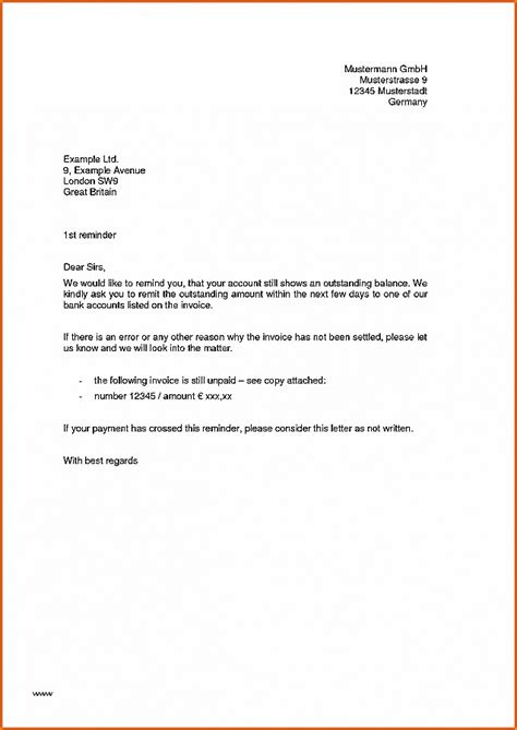 Polite Reminder Letter Outstanding Payment fresh outstanding payment request letter format
