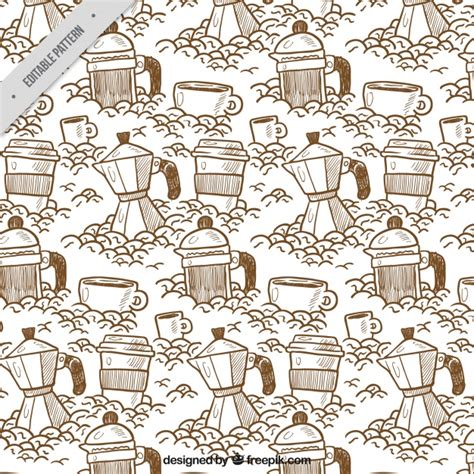 pattern generator sketch pattern sketches of coffee maker and other elements vector