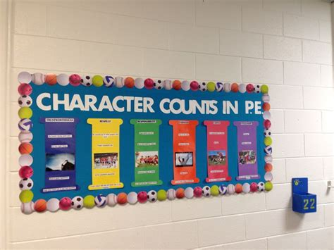 Character Education Themes Elementary | character counts pe bulletin board school social work