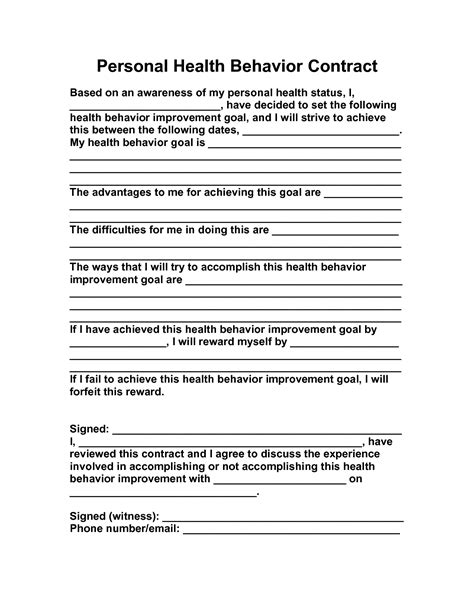 behavior modification contract template 15 best images of behavior change contract worksheet