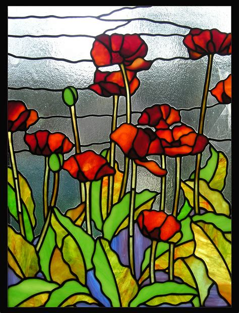 stained glass panels poppies stained glass panel by theglasspeacock on etsy