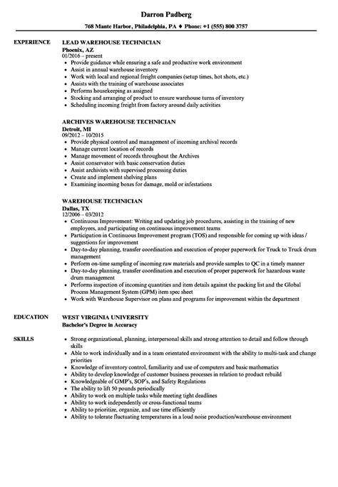 Warehouse Technician Sle Resume by Warehouse Technician Resume Sles Velvet