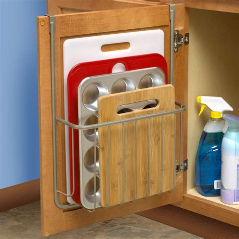 kitchen cabinet door storage bakeware organizer in cabinet door organizers