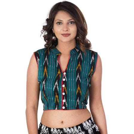 buy green black and yellow cut sleeve cotton ikat blouse 30214