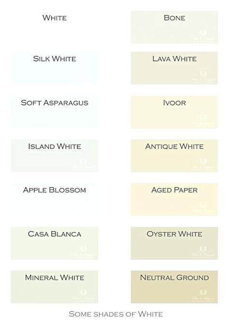 white color names shades of white names shades of white best shades of white