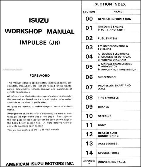 free service manuals online 1993 isuzu stylus instrument cluster service manual 1992 isuzu impulse repair manual free service manual 1992 isuzu amigo service
