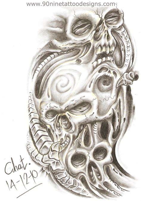 biomechanical skull tattoo design scary biomechanical skull design