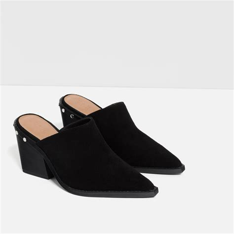 zara shoes zara high heel mule shoes in black lyst