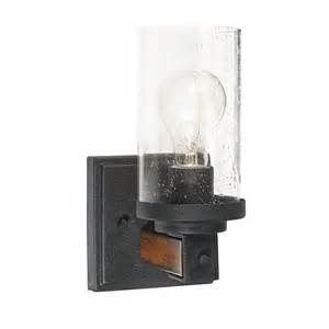 Kichler Wall Sconce Shop Kichler Lighting Barrington 4 49 In W 1 Light Distressed Black And Wood Arm Hardwired Wall