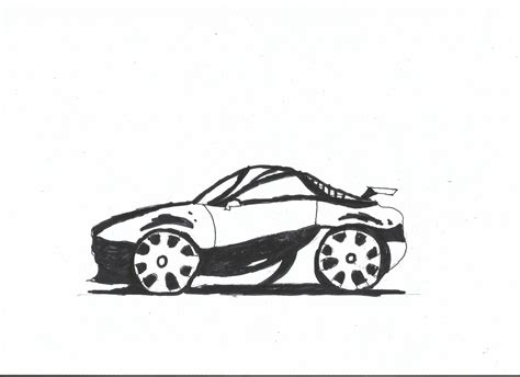 cartoon sports car black and white black and white effect on a sports car drawing