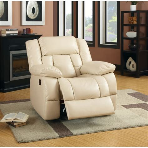 frey s time furniture furniture of america frey leather glider recliner in ivory