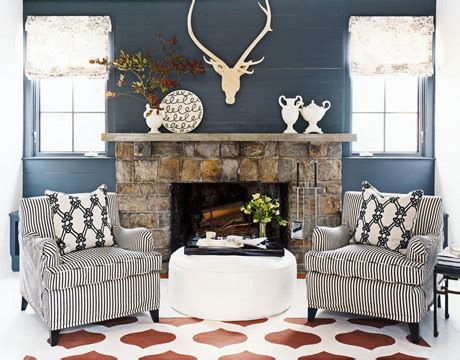 seating in front of fireplace red white blue color combination patriotic room