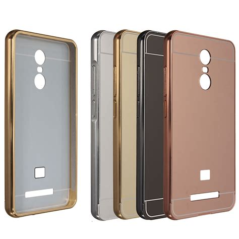 luxury metal frame mirror back cover skin bumper for xiaomi redmi note 3 sale banggood