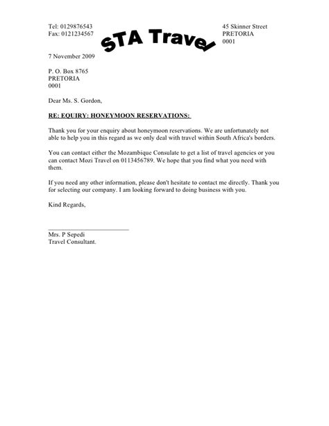 Business Letter Response To sle business letter reply inquiry reply to enquiry