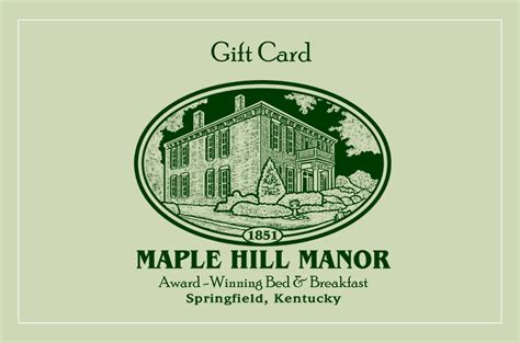 bed and breakfast gift card buy a bed and breakfast gift certificate from maple hill manor b b