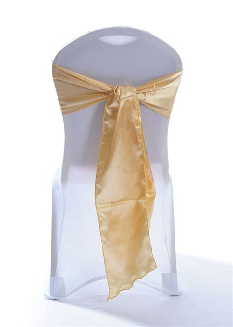 gold satin wedding chair cover sash event decor group