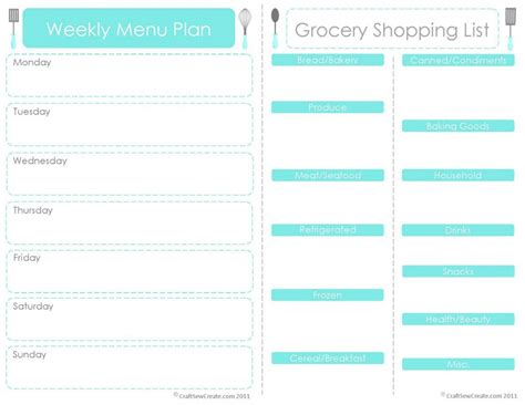 free printable weekly menu planner template