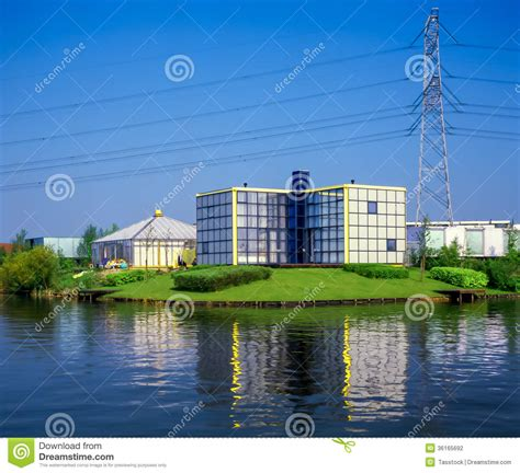 Modern Architecture Near High Tension Power Lines