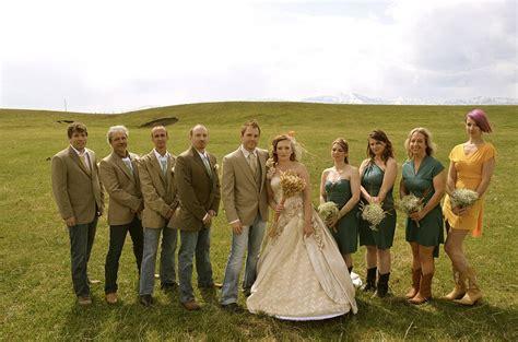 Backyard Wedding Mens Attire Small Outdoor Blue Jean Casual Wedding Picture