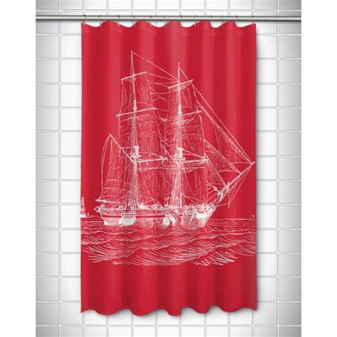 ship shower curtain island girl vintage ship shower curtain white on red
