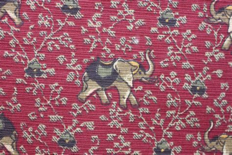 Elephant Print Upholstery Fabric by Fabric Elephant Walk Cranberry P Kaufmann 7 8 Yd Pc