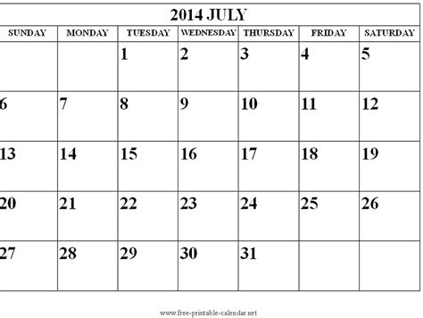 printable calendars july 2014 image gallery july 2014 calendar printable
