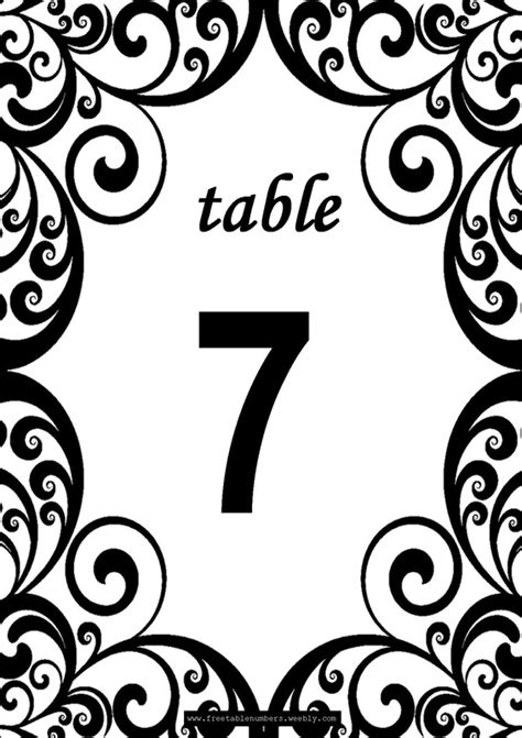 Free Swirls Printable Diy Table Numbers Free Table Numbers Table Number Template