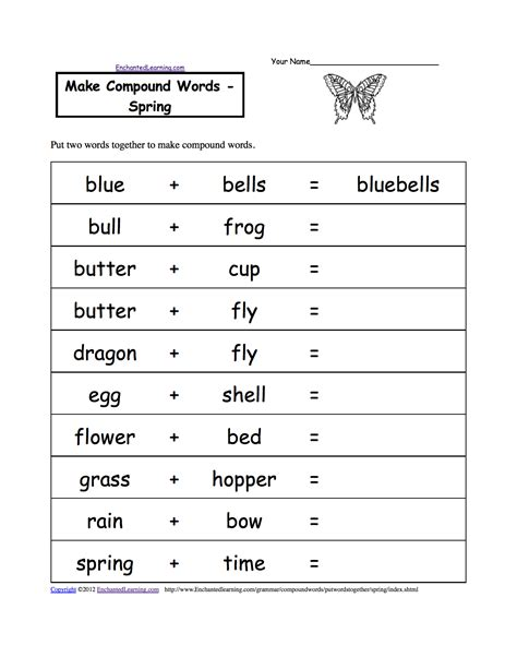 index of images printables spring make compound words printable worksheets