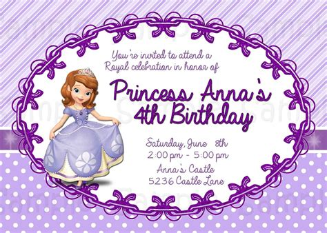 printable invitations of sofia the first 8 best images of free printable princess sofia invitations