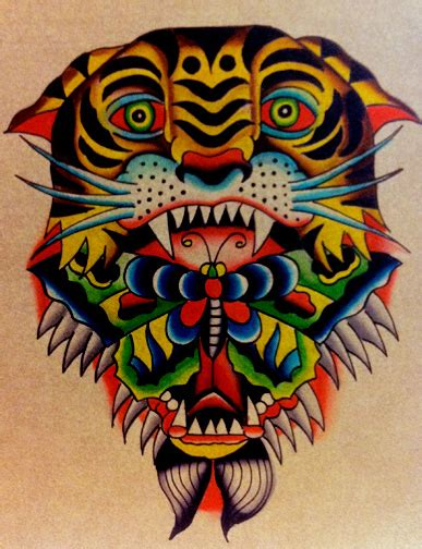 old school tiger head tattoo vivid color old school tiger head with butterfly in mouth