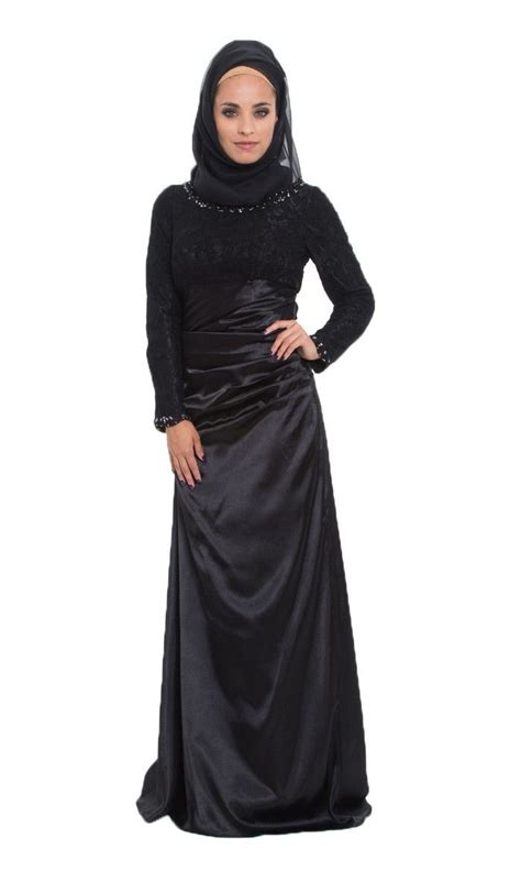 Jilbab Square Lace Katun Erow black lace and satin islamic formal dress with islamic dresses at artizara