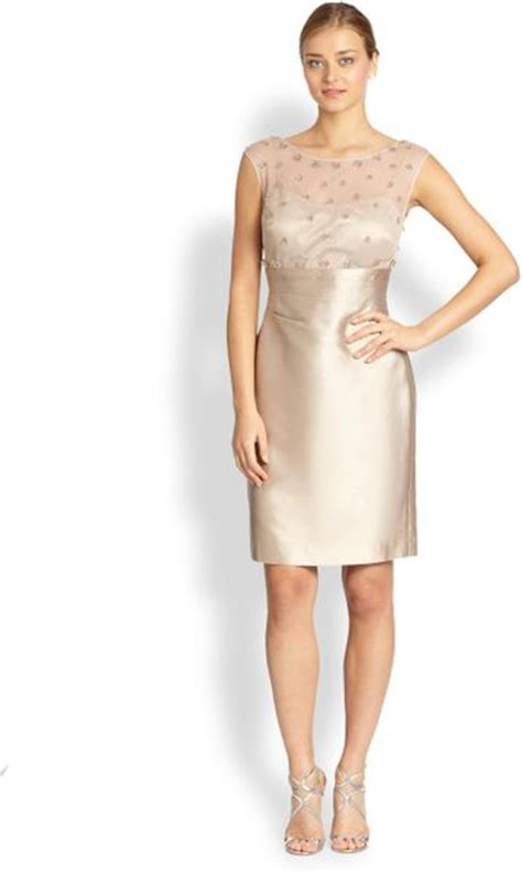 beige beaded cocktail dress unger beaded tulle faille cocktail dress in beige
